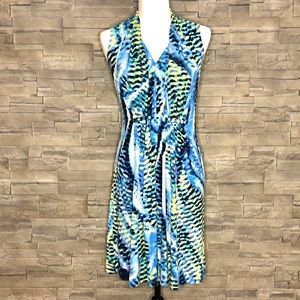 Cleo sleeveless blue and yellow dress